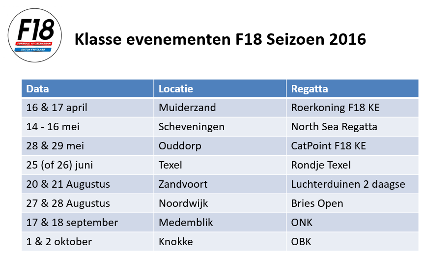NL F18 kalender 2016